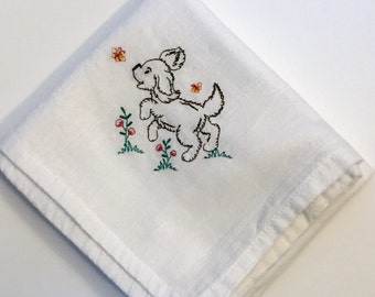 Vintage Flour Sack Embroidered Dish Towel w/ Farm Animal Puppy Dog