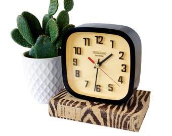 Vintage Bulova Clock, Mid Century Mod Black Plastic Square Bulova Desktop or Wall Clock, Retro Battery Operated Bulova Clock, Works Great!
