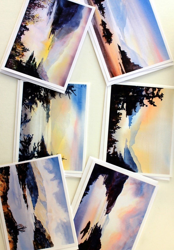 Columbia Gorge Glow - note cards - blank cards - thank you cards - Columbia River Gorge - watercolor note cards - Bonnie White note cards