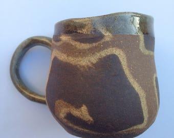 Handmade ceramic mug - Unglazed marbled clay mug