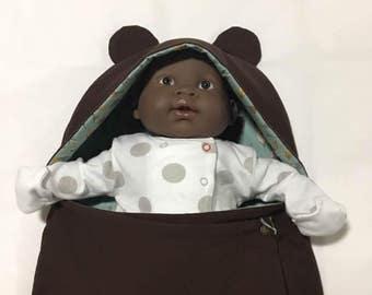 Baby Bear Hooded Sleep Sack (Feathers, Blue, Green, Aqua, Turquoise, Brown) - Swaddle Blanket, Bunting Bag, Hooded Sleeping Bag
