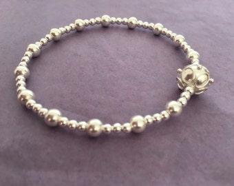 Sterling Silver Bali Bead Bracelet
