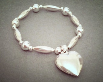 Sterling Silver Large Heart Chunky Charm Bracelet