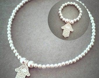 Sterling Silver Mini Hamsa Hand Matching Set