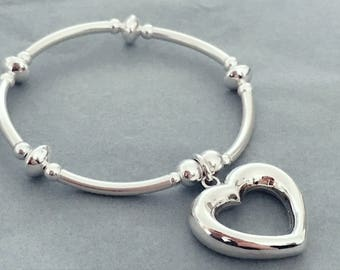 Sterling Silver XL Heart Charm Noodle Bracelet With XL Spacer Beads