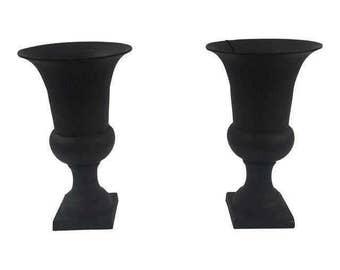 Pair of black metal Urns planter