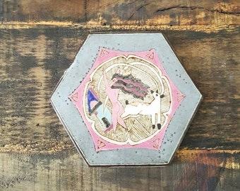 Vintage hexagon ceramic wall tile, signed PINK