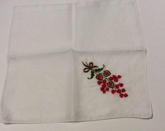 Vintage handkerchief, vintage hanky, vintage hankie, Valentine hanky, Valentine handkerchief, heart handkerchief