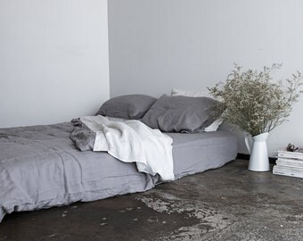100% Pure Linen Fitted Sheet - Dove Grey - Natural Stone Washed Bed Sheet