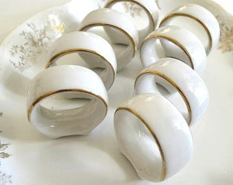 vintage set of eight 8 ceramic napkin rings with gold detail white gold napkin rings ceramic fancy dining
