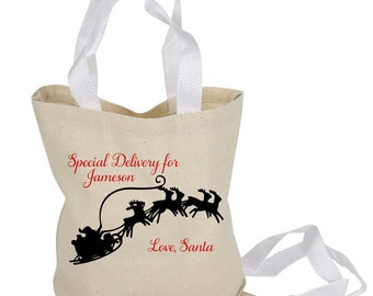 Personalized Special Delivery Tote Bag From Santa Reindeer Sleigh Child's Name