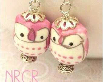 Pink Owl Earrings. 925 Sterling Silver. Ceramic.