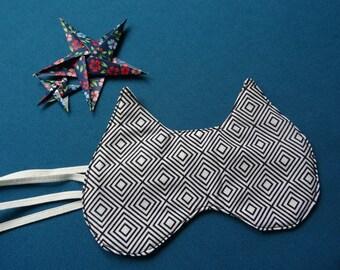 Masque forme chat / Masque de nuit / Masque de sommeil coton / Masque sommeil drole / Accessoire voyage original / Masque yeux noir motif