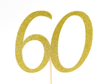 60th Birthday Cake Topper Party Decoration. 50th, 40th Any Age. Gold & Silver Glitter Birthday Decoration. Sixtieth Birthday. Birthday Cake.