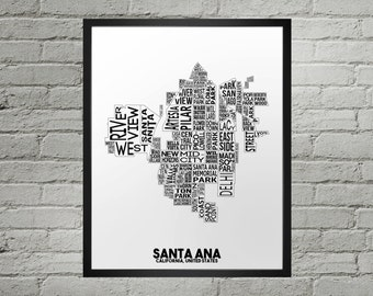 Santa Ana California Neighborhood Typography City Map Print