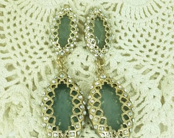 Jade Green Vintage Earrings