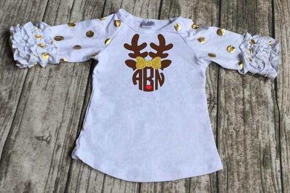 Monogram Christmas Shirt-Reindeer Monogram Shirt-Baby Toddler