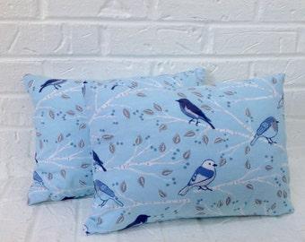 "Flannel pillow cover / Blue bird pillow cover / 12"" X 16"" pillow cover / zippered pillow cover / decorative pillow cover / throw pillow"
