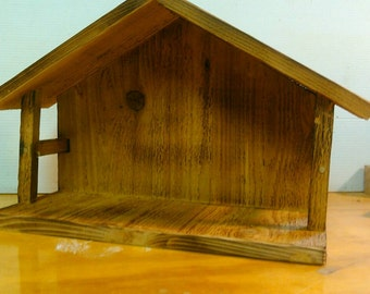 Rustic Wood Nativity Stable - Small
