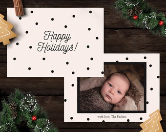 Happy Holidays Card Template, Photoshop Template 5x7 Card, Christmas Card Template, Photo Christmas Card, Minimalist Cards, Instant Download