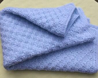 Crochet Baby Blanket, Blue Baby Blanket, Newborn Baby Gift, Stroller Blanket, Handmade Blanket, Baby Boy Gift, Baby Afghan, Ready to Ship!
