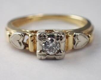 14K Yellow and White Gold Diamond Engagement Ring