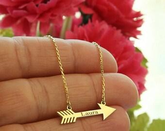 Personalized Arrow Necklace-Gold Arrow Necklace-Personalized Necklace-Personalized Bridesmaid Gift-Personalized Jewelry-Personalized Gift