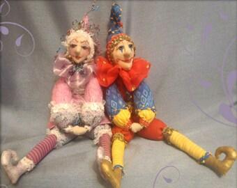 MM248E – Beanie Jesters – Leo & Lilli, Cloth Doll Sewing Pattern, PDF Download Doll Making Pattern