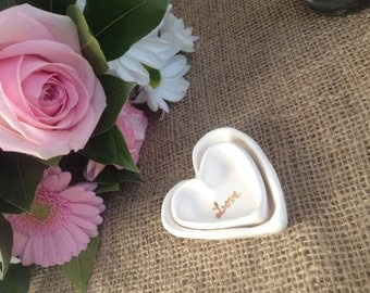 Mother's Day handmade white ring catcher hearts with 24 carat gold 'Love You More' detail.