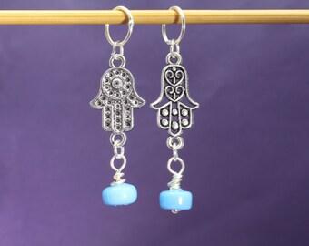 Hamsa Hand and Blue Bead Knitting Stitch Marker Set, Knitting Tools, Gift for Knitters, Buddhist