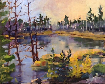 Small Art - Algonquin Bog - 10x8 oil painting - SHIPPING Included