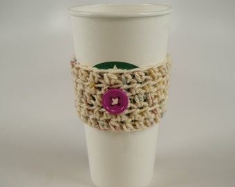 Simple Coffee Cozy - Speckled Beige with Fuschia Button