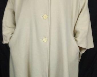 Vintage Ivory Cape Jacket 100% Wool 70s Ethel Pear