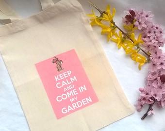 "Bag of ""Keep calm"" Easter egg hunt customizable 26 x 18 cm"