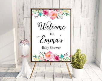 Baby Shower Welcome Sign, Baby Shower Sign, Floral Bridal Shower Welcome Sign, Bridal Shower Welcome Sign, Floral Baby Shower Welcome Sign