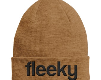 Fleeky CARAMEL Beanie Hat Black Text STPH6