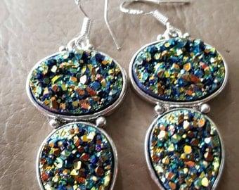 Rainbow Titanium Druzy Earrings!