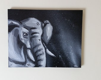 Elephant painting, elephant canvas painting, elephant art, pop art elephant, elephant pop art, elephant canvas, canvas art, wall art, paint