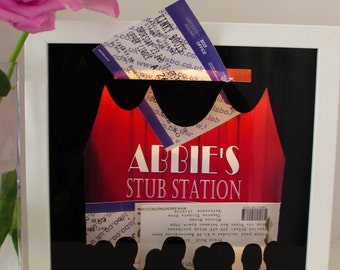 Ticket Stub Collectors Light Up Personalised Shadow Box Frame for Theatre Musical Stage Show Memory Collection Gift