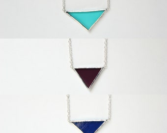 Small Triangle Stained Glass Necklace
