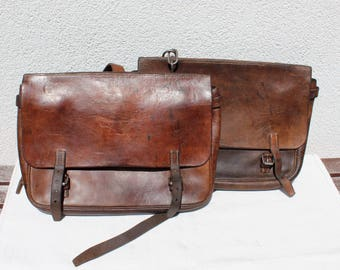 Vintage Swiss Army Saddle Bag Pair / Connectable Saddle Bags / Horizontal Horse Sidebags from 1938 and 1939