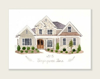 Art print from your house portrait