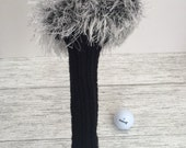 Fun Fluffy fancy golf Gift for golfer Golf head cover set hand knitted head covers fairway woods putter cover
