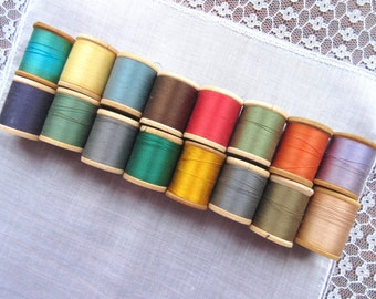 Vintage   Mercerized Thread  Belding  Corticelli  Coats Clarks Vintage Thread  -  16 Spools  - Embroidery  Sewing Supplies