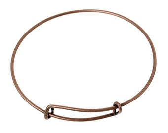 Antique Copper Adjustable Bangle Bracelet - Medium-Large (1817)