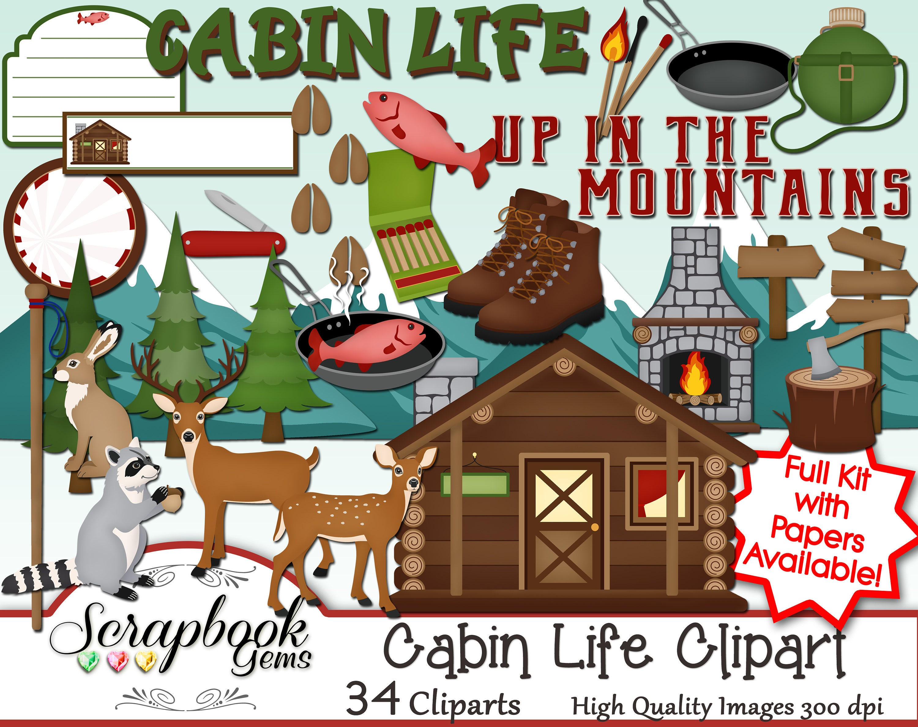 CABIN LIFE Clipart, 34 png Clipart files Instant Download ...