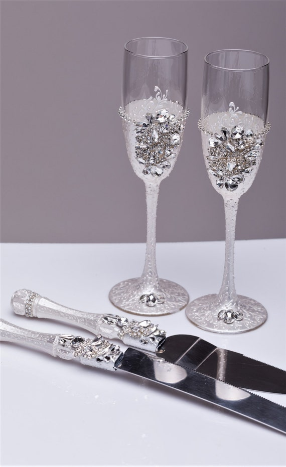 Cake Server Set Wedding Cake Knife Cake Cutting Set Toasting Flutes