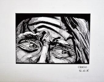 FEAR, EYES 2 (woman portrait, black ink illustration, print)