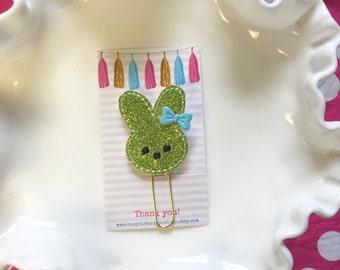 Planner clip - green glitter bunny