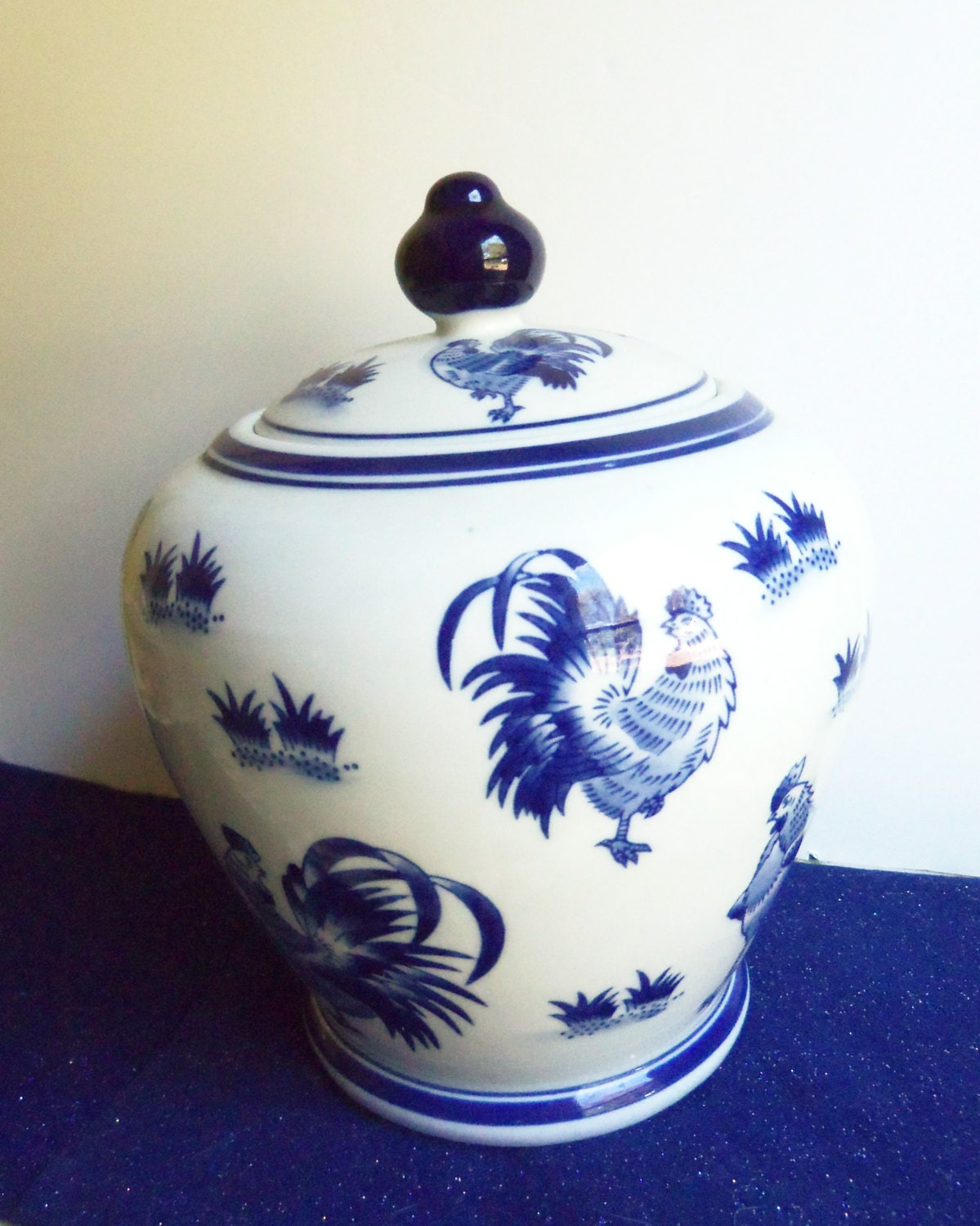 Large Ceramic Cookie Jar Cobalt Blue By Treasuretrovebayside